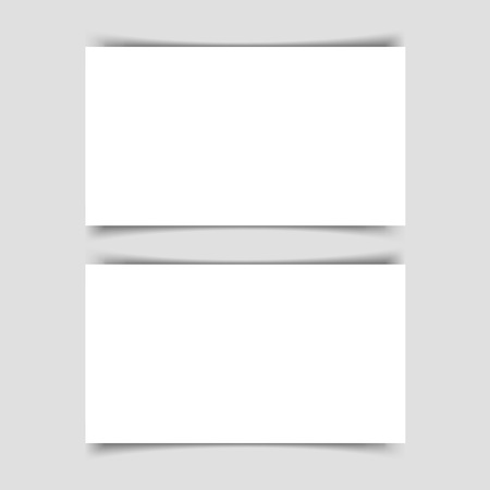 Mok-up of two horizontal business cards with shadow on a gray background. Template for the presentation of business cards. Vector illustration. Reklamní fotografie - 125162322