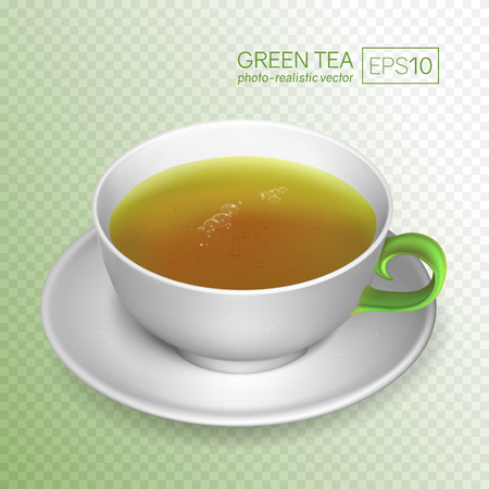 A cup of green tea isolated on transparent background. White porcelain tea cup in a realistic style. This cup can be placed on any background. Vector illustration