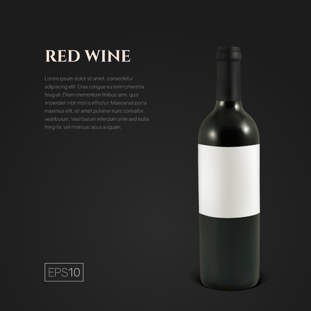 Photorealistic bottle of red wine on a black background. Mock up transparent bottle of wine. Template for product presentation or advertising in a minimalistic style. Ilustração