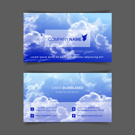 Two-sided horizontal business cards with realistic blue sky and clouds. The image can be used to design a business card. Ilustração