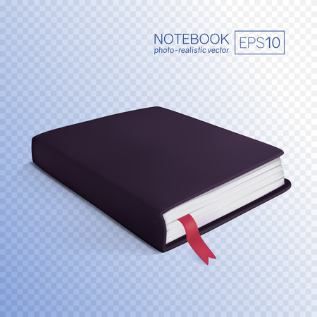 Realistic black book with bookmark. Vector illustration isolated on transparent background. This black notebook can be placed on any background.