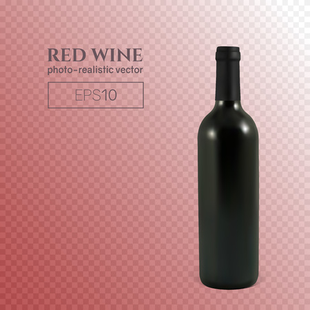 Photorealistic bottle of red wine on a transparent background. Mock up transparent bottle of wine. This wine bottle can be placed on any background. Иллюстрация