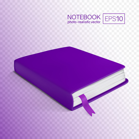 Realistic purple book with bookmark. Vector illustration isolated on transparent background. This purple notebook can be placed on any background.