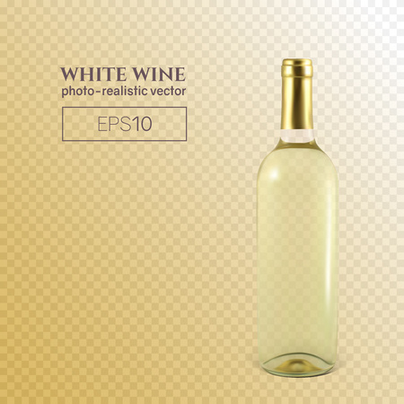 Photorealistic bottle of white wine on a transparent background. Mock up transparent bottle of wine. This wine bottle can be placed on any background. Reklamní fotografie - 125901132