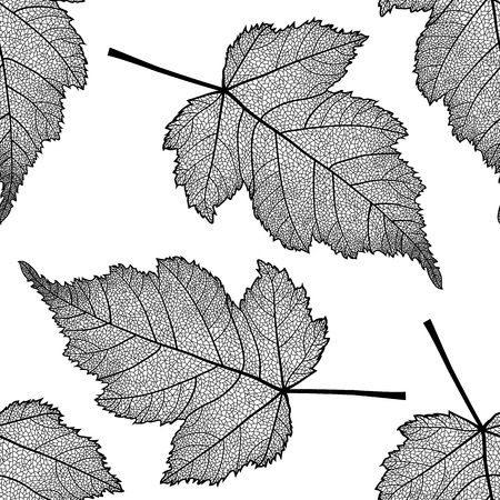 Vector seamless pattern with skeletonized leaves. Иллюстрация