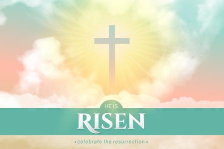 Christelijk religieus ontwerp voor paasviering. Rechthoekige horizontale vectorbanner met tekst: Hij is opgestaan, glanzend kruis en hemel met witte wolken.