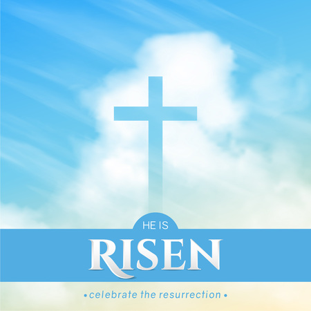 Christian religious design for Easter celebration. Square vector banner with text: He is risen, shining Cross and heaven with white clouds. Reklamní fotografie - 125901134