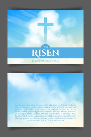 Christian religious design for Easter celebration. Two-sided horizontal flyer. Text: He is risen, shining Cross and heaven with white clouds. Illustration