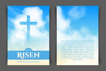 Christian religious design for Easter celebration. Two-sided vertical flyer. Text: He is risen, shining Cross and heaven with white clouds. Illustration