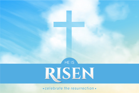 Christian religious design for Easter celebration. Horizontal vector banner with text: He is risen, shining Cross and heaven with white clouds.