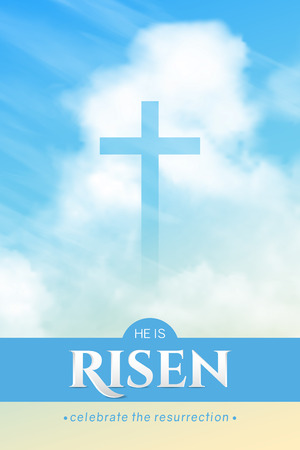 Christian religious design for Easter celebration. Vertical vector banner with text: He is risen, shining Cross and heaven with white clouds. Ilustração