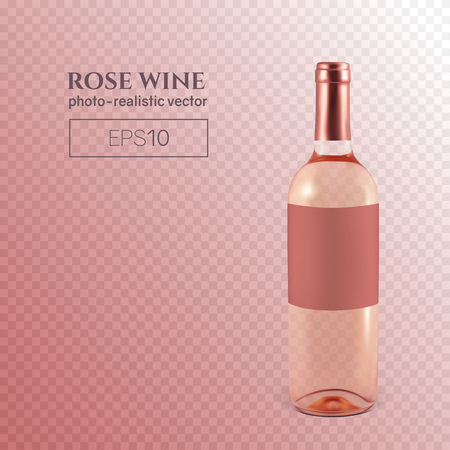 Photorealistic bottle of rose wine on a transparent background. Mock up transparent bottle of wine. This wine bottle can be placed on any background. Reklamní fotografie - 125901139