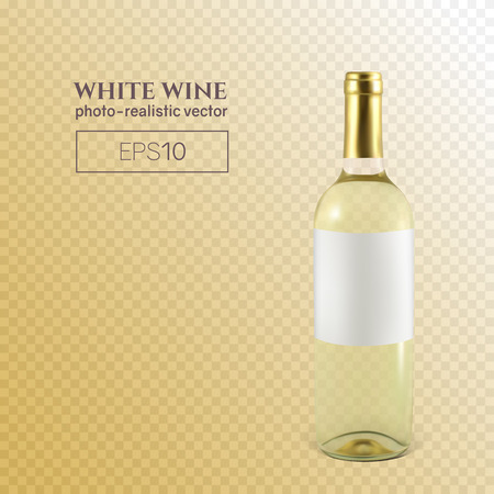 Photorealistic bottle of white wine on a transparent background. Mock up transparent bottle of wine. This wine bottle can be placed on any background.