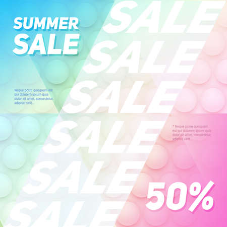 Sale concept banner - creative vector illustration with multicolored abstract background. Spherical design elements in all colors of the rainbow. Discount advertising layout.