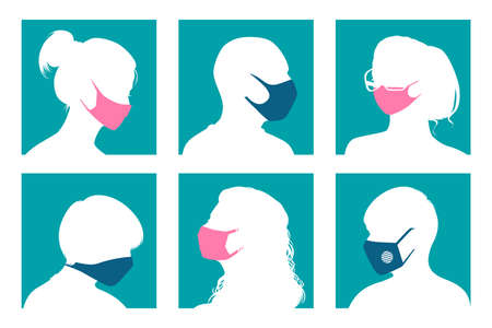 Set of female and male avatars in medical masks. 矢量图像