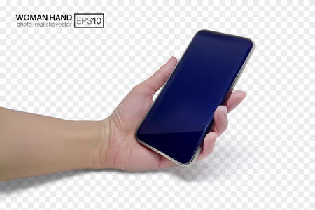 3d female hand holds a smartphone. Realistic vector illustration isolated on transparent background. EPS10 with mesh gradients. 矢量图像