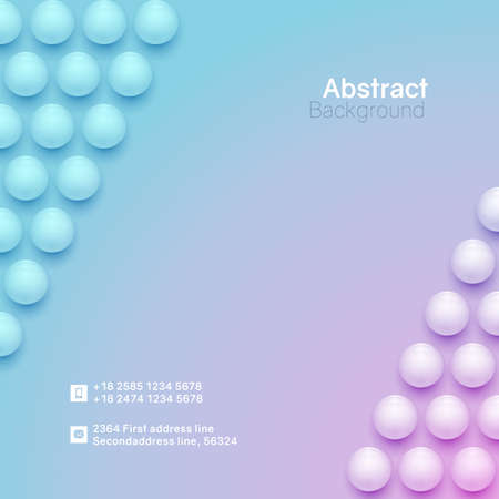 Abstract circle background. 3D spheres. Square mnimalistic banner template. Vector illustration with mesh gradients.
