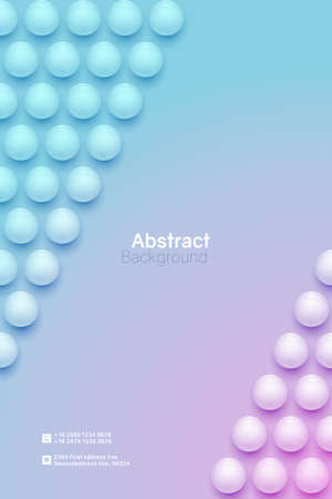 Abstract circle background. 3D spheres. Vertical minimalistic banner template. Vector illustration with mesh gradients. 免版税图像