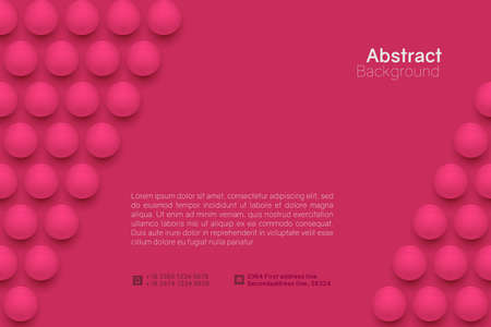 Abstract circle background. 3D spheres. Horizontal minimalistic banner template. Vector illustration with mesh gradients.