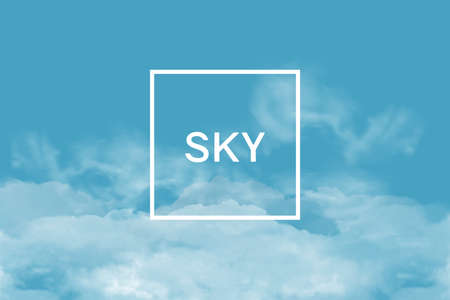 Poster with clouds and frame for text. Horizontal banner with sky background.