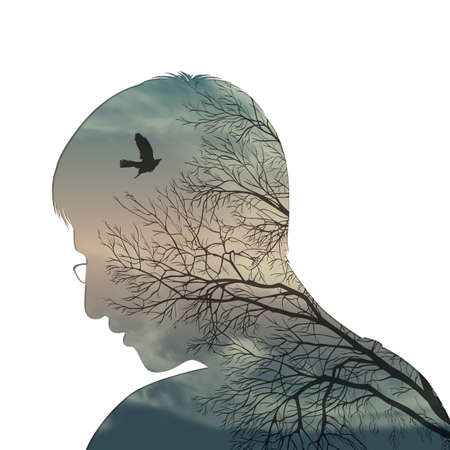 Illustration of a male head and his psychological state inside.