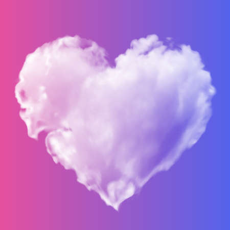 White transparent heart made of clouds on a pink-blue background. Vector illustration for valentines day and wedding. Gradient mesh.