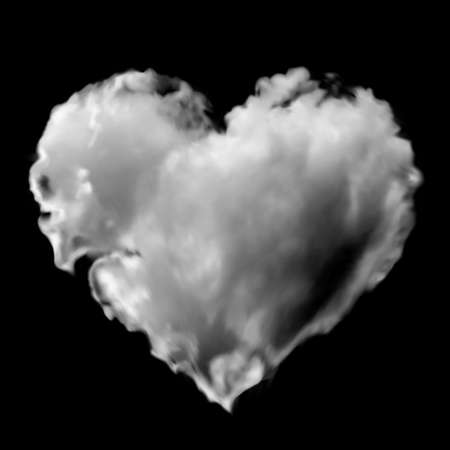 White transparent heart made of clouds on a black background. Vector illustration for valentines day and wedding. Gradient mesh. Can be used as a mask.
