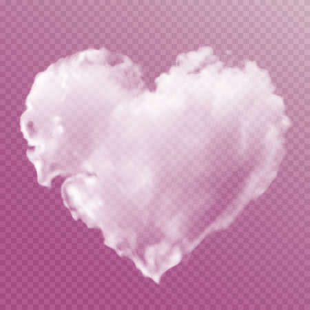 White heart made of clouds on a transparent background. Vector illustration for valentines day and wedding. Gradient mesh.