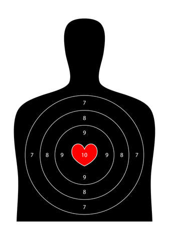 shooting gun: black human shooting target with valentine heart main point on white background