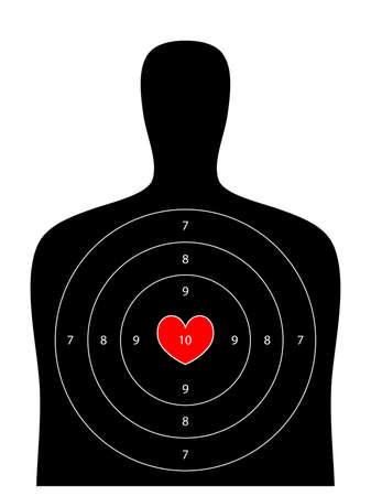tiro al blanco: blanco negro shooting humano con el punto principal de corazón de San Valentín en el fondo blanco