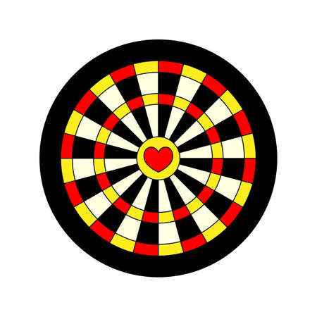 romance strategies: darts shooting target with valentine heart main point on white background