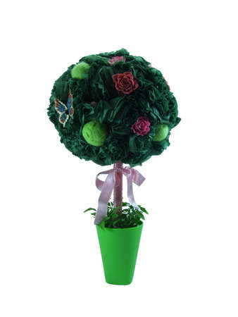 topiary: Green Topiary of paper decorated with flowers Stock Photo
