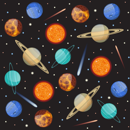 jupiter light: Seamless pattern with solar system planets