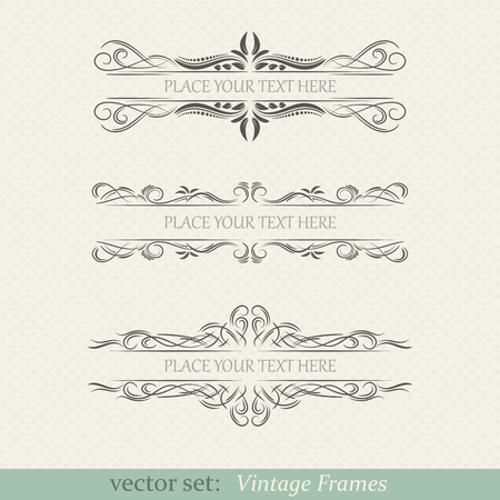 Vector set of vintage frames on retro background  イラスト・ベクター素材