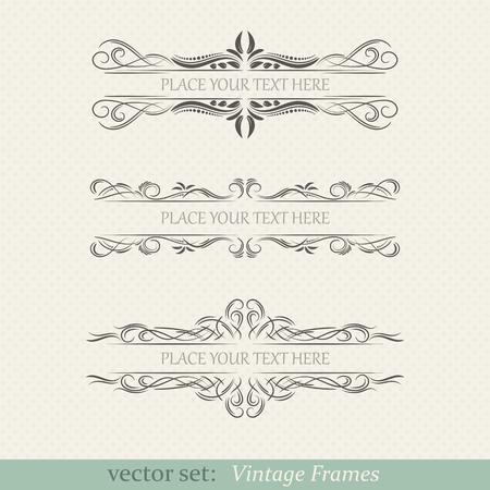 Vector set of vintage frames on retro background 일러스트