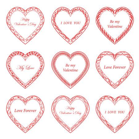 Valentines Day vintage frames on white background Illustration