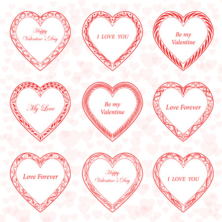 Valentines Day vintage frames on background from hearts