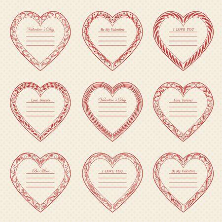 Valentines Day vintage frames on retro background Illustration