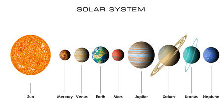 Solar System with planets illustration  イラスト・ベクター素材