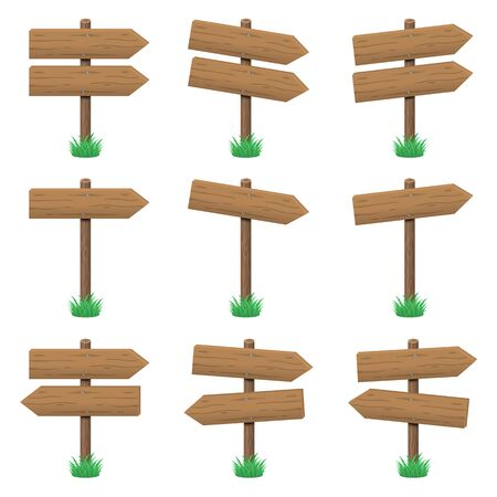 Vector set of wooden arrow signs