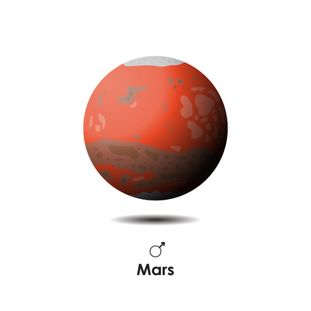 Vector Mars on background with symbol Illustration