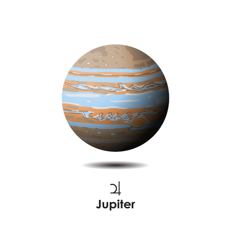 Vector Jupiter on background with symbol Ilustrace
