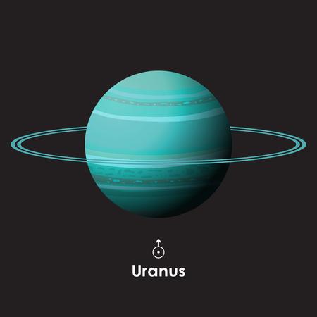 Uranus on background with symbol
