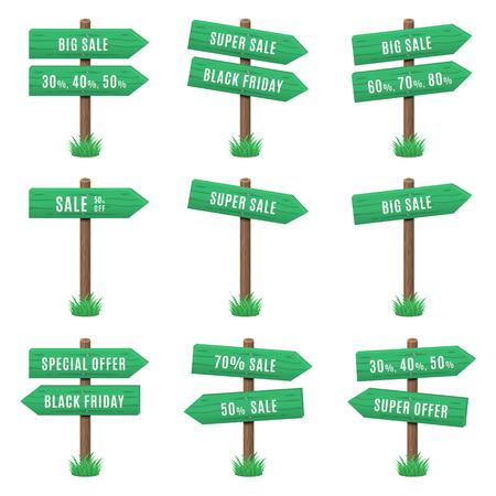 Vector set of wooden arrow sign
