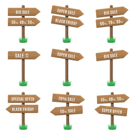 Vector set of wooden arrow sign