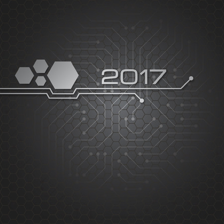 Abstract technology vector background for 2017 year