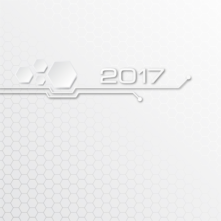 Abstract technology vector background for 2017 year on gray background. Ilustrace