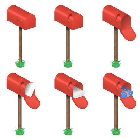 Vector set of red mailboxes 일러스트