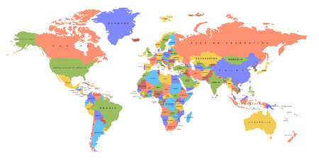 Color world map. Political map.