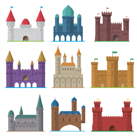 Vector set of old flat medieval castles
